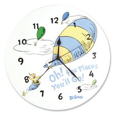Dr. Seuss Oh The Places You''ll Go Blue Wall Clock