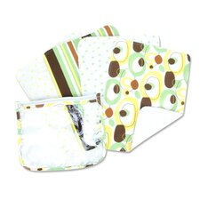 Giggles Zip Pouch Burp Cloth Set in Sage (Set of 4)