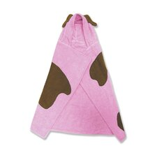 Terry Velour Pink Puppy Hooded Towel