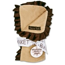 Ruffle Trimmed Caramel and Brown Receiving Blanket