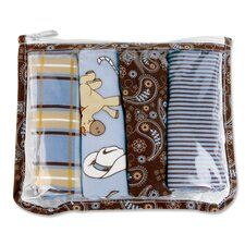Cowboy Zipper Pouch and 4 Burp Cloths Gift Set