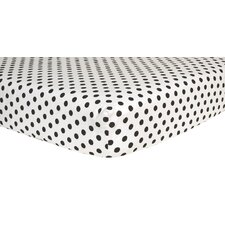 Dot Print Flannel Crib Fitted Sheet