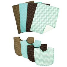Cocoa Mint 8 Piece Bib and Burp Cloth
