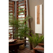 Pura Vida I Rain Drop Teak Panel in White with Natural Step Up and White Drops