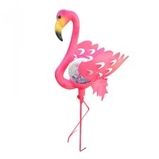 Flamingo Garden Stake Glass Crackle Solar Light
