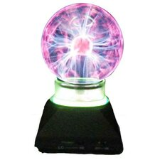 """Plasma Ball 7.25"""" H Table Lamp with Round Shade"""