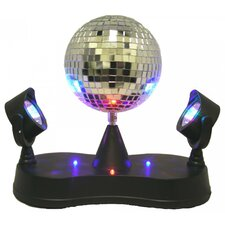 "Mirror Ball with Twin Projector 9.37"" H Table Lamp with Round Shade"