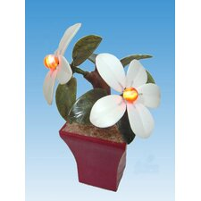"""Real Stone Decorative Flower Plants 7"""" H Table Lamp"""