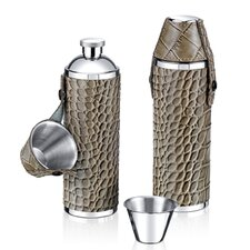 10 Oz. Crocodile Leather Tube Flask