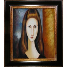 Portrait of Jeanne Hebuterne by Amedeo Modigliani Framed Original Painting