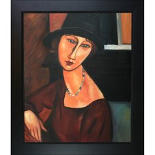 Jeanne Hebuterne with Hat and Necklace by Modigliani Framed Original Painting