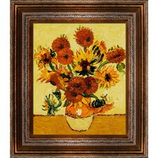 Vase with Fifteen Sunflowers by Van Gogh Framed Original Painting