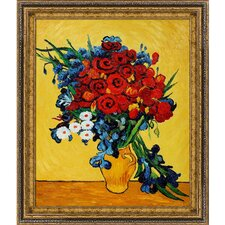 Van Gogh Poppies and Iris Collage (Artist Interpretation) Hand Painted Oil on Canvas Wall Art