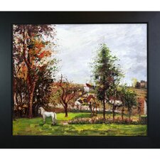 Landscape with a White Horse in a Meadow Pissarro Framed Original Painting
