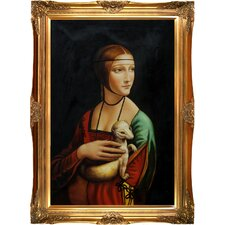 Lady with an Ermine Da Vinci Framed Original Painting