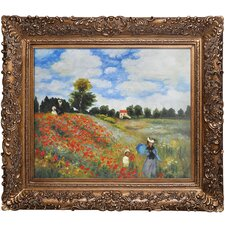 Poppy Field in Argenteuil Monet Framed Original Painting
