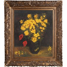 Vase with Viscaria (Poppy Flowers) Van Gogh Framed Original Painting