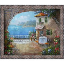 Cafe At Oceanside Framed Original Painting