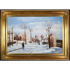 Street in the Snow, Louveciennes by Jacob-Abraham-Camille Pissarro Framed Hand Painted Oil on Canvas