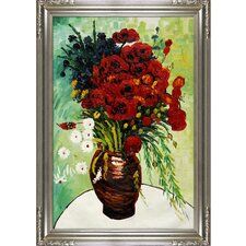 Vase with Daisies and Poppies by Van Gogh Framed Hand Painted Oil on Canvas