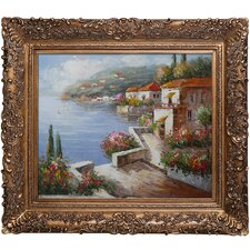 Vacation Harbor Framed Hand Painted Oil on Canvas
