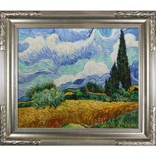 Wheat Field with Cypresses by Van Gogh Framed Hand Painted Oil on Canvas