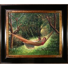Girl in a Hammock by Winslow Homer Framed Hand Painted Oil on Canvas
