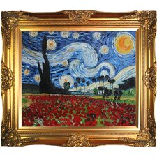 Starry Poppies Collage (Artist Interpretation) by Van Gogh Framed Hand Painted Oil on Canvas