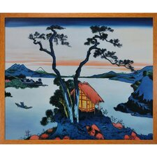 Lake Suwa in the Shinano Province by Katsushika Hokusai Framed Hand Painted Oil on Canvas