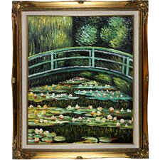 Water Lilies by Monet Framed Hand Painted Oil on Canvas in White