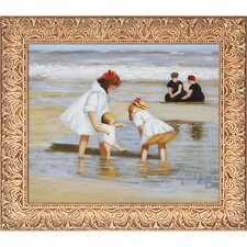 Children Playing at The Seashore by Potthast Framed Hand Painted Oil on Canvas