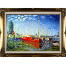 Red Boats at Argenteuil by Monet Framed Hand Painted Oil on Canvas