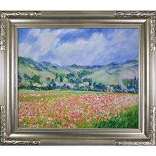 Poppy Field Near Giverny by Monet Framed Hand Painted Oil on Canvas