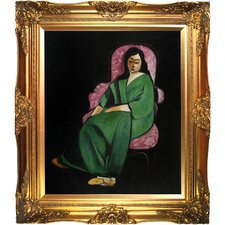Lorette in a Green Robe Against a Black Background by Matisse Framed Hand Painted Oil on Canvas