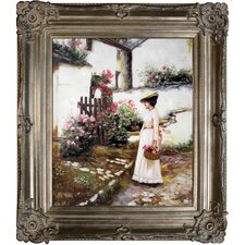 Gathering Summer Flowers in a Devonshire Garden by John William Waterhouse Framed Hand Painted Oil on Canvas