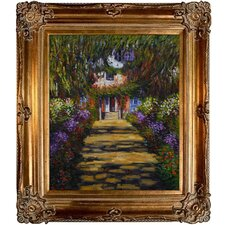 Garden Path at Giverny by Monet Framed Original Painting