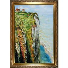 Monet Cliff at Dieppe with Elegant Wood Frame Gold Finish Wall Art