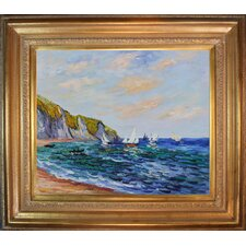 Cliffs and Sailboats at Pourville by Monet Framed Hand Painted Oil on Canvas