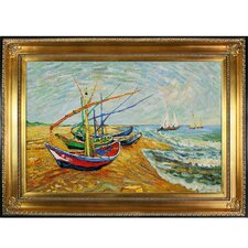 Fishing Boats on the Beach at SaintesMaries by Van Gogh Framed Hand Painted Oil on Canvas