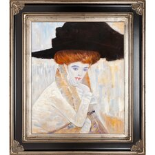 Black Feather Hat by Klimt Framed Hand Painted Oil on Canvas