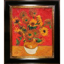 Sunflowers by Van Gogh Framed Hand Painted Oil on Canvas in Red