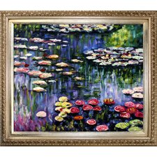 Water Lilies by Monet Framed Hand Painted Oil on Canvas in Pink