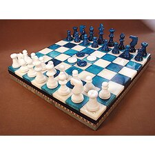 <strong>Scali</strong> Alabaster Inlaid Chest Chess Set in Blue / White