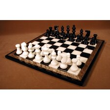 <strong>Scali</strong> Alabaster Wood Frame Chess Set in Black / White