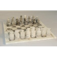 <strong>Scali</strong> Spiral Alabaster Chess Set in Grey / White