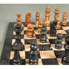 Marble Chess Set in Black / Tan