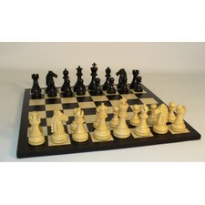<strong>WorldWise Chess</strong> Black Mustang on Black / Maple Chess Board