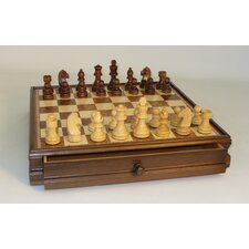 Wood Inlaid Chest and Men Chess Set