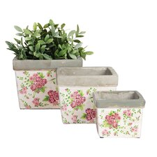 3 Piece Square Flower Pot Planter Set