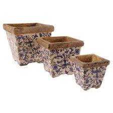 Aged Ceramics 3 Piece Square Planter Set